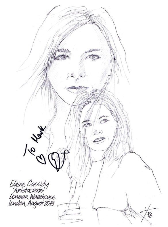 Autographed drawing of Elaine Cassidy in Aristocrats at the Donmar Warehouse on London's West End