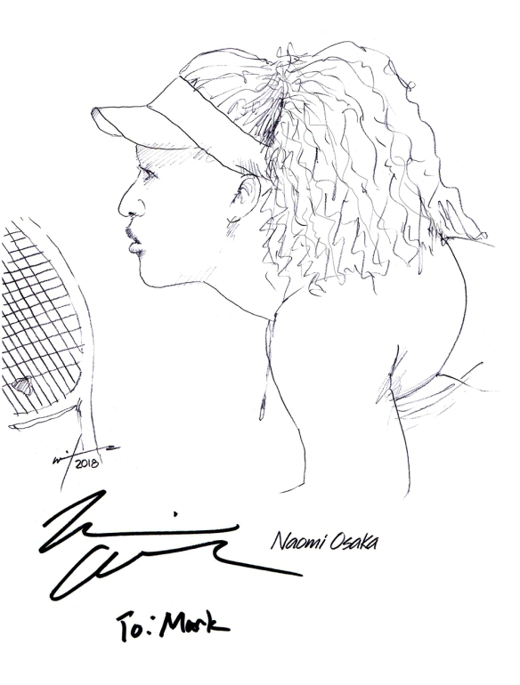 Autographed drawing of tennis player Naomi Osaka