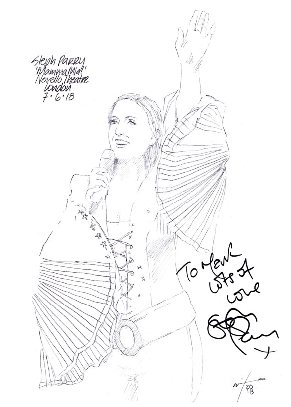 Autographed drawing of Steph Parry in Mamma Mia at the Novello Theatre on London's West End