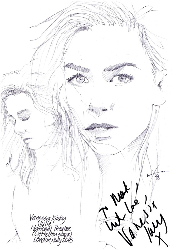 Autographed drawing of Vanessa Kirby in Julie at the National Theatre Lyttelton Stage in London