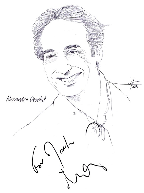 Autographed drawing of composer Alexandre Desplat