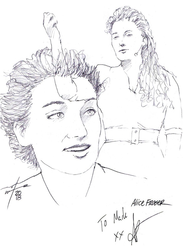 Autographed drawing of comedian Alice Fraser