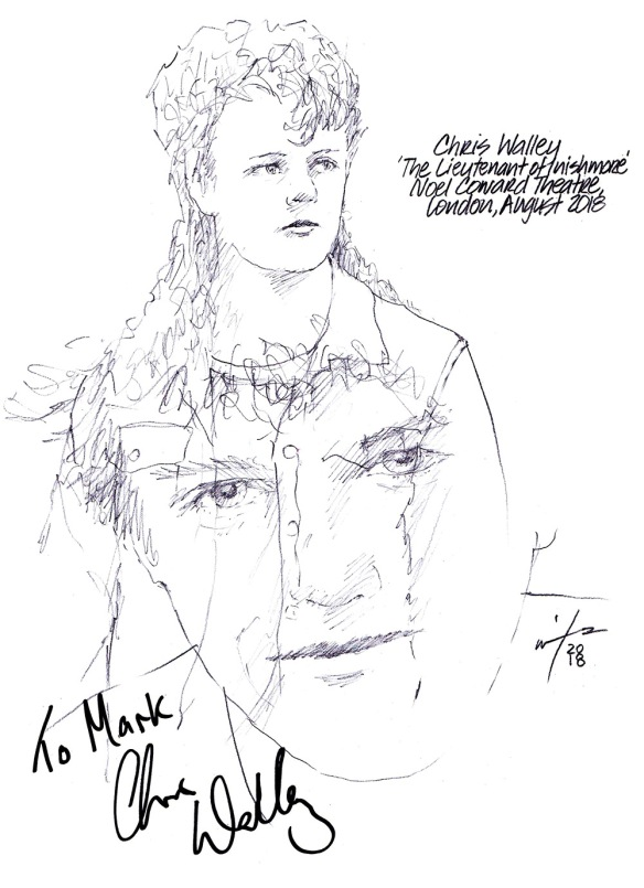Autographed drawing of Chris Walley at The Lieutenant of Inishmore at the Noel Coward Theatre on London's West End