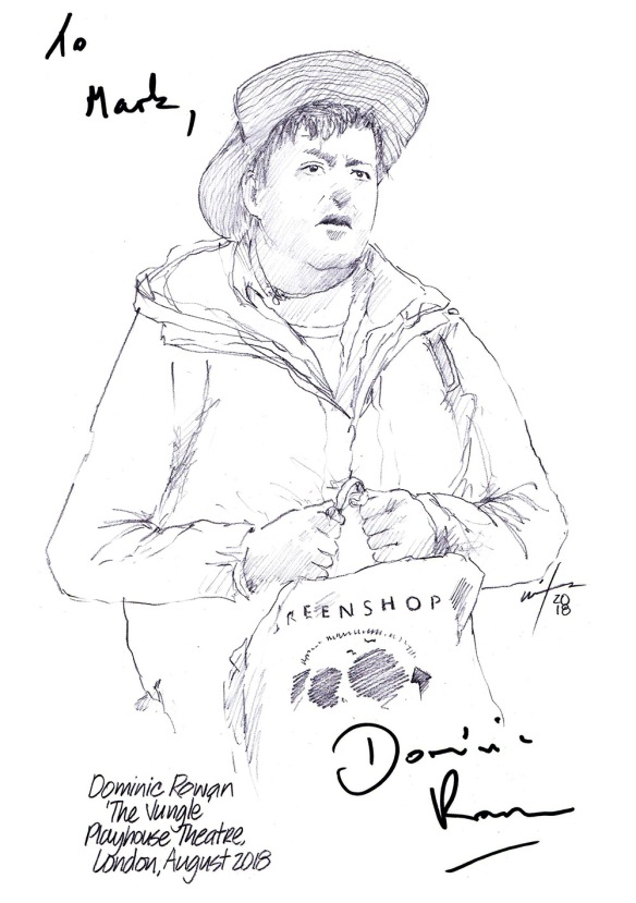 Autographed drawing of Dominic Rowan in The Jungle at the Playhouse Theatre on London's West End
