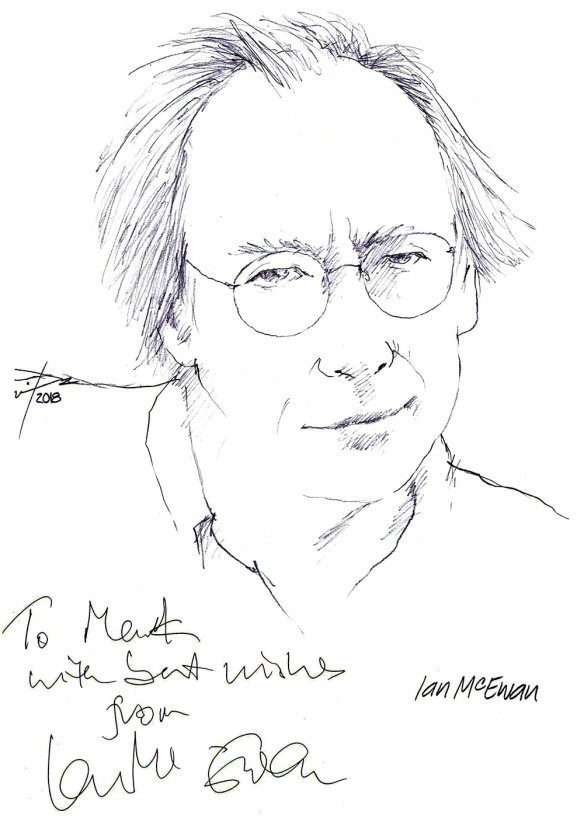 Autographed drawing of writer Ian McEwan