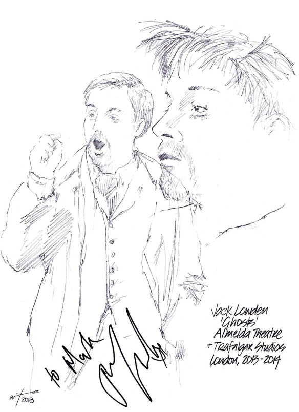 Autographed drawing of Jack Lowden in Ghosts at the Almeida Theatre and Trafalgar Studios on London's West End