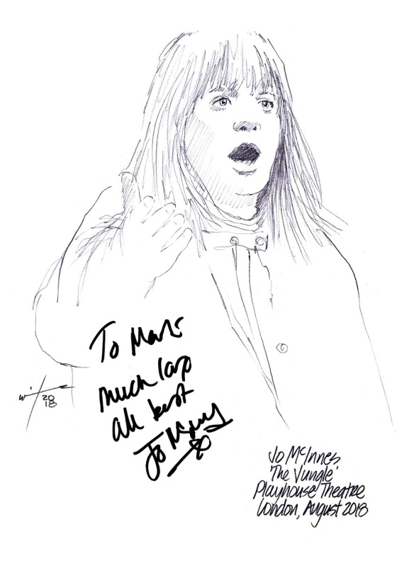 Autographed drawing of Jo McInnes in The Jungle at the Playhouse Theatre on London's West End