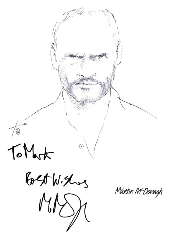 Autographed drawing of writer Martin McDonagh