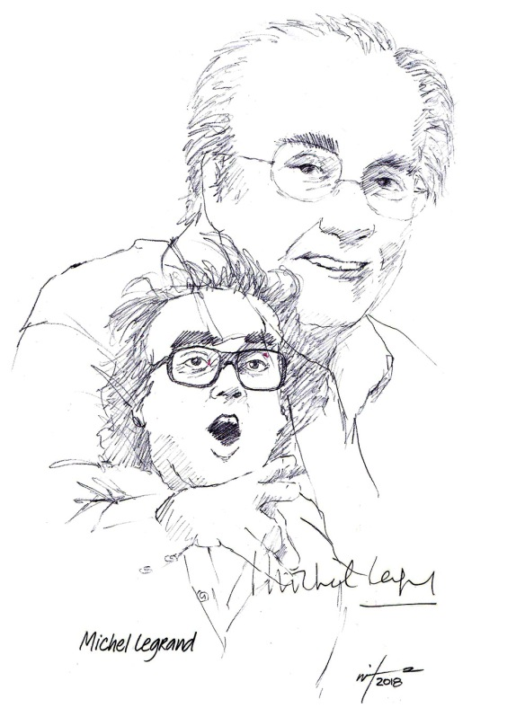 Autographed drawing of composer Michel Legrand
