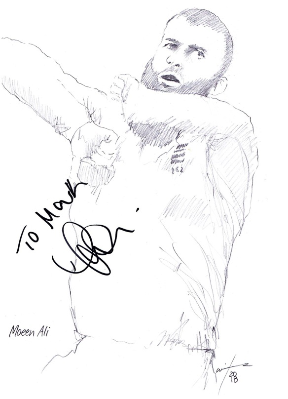 Autographed drawing of cricketer Moeen Ali