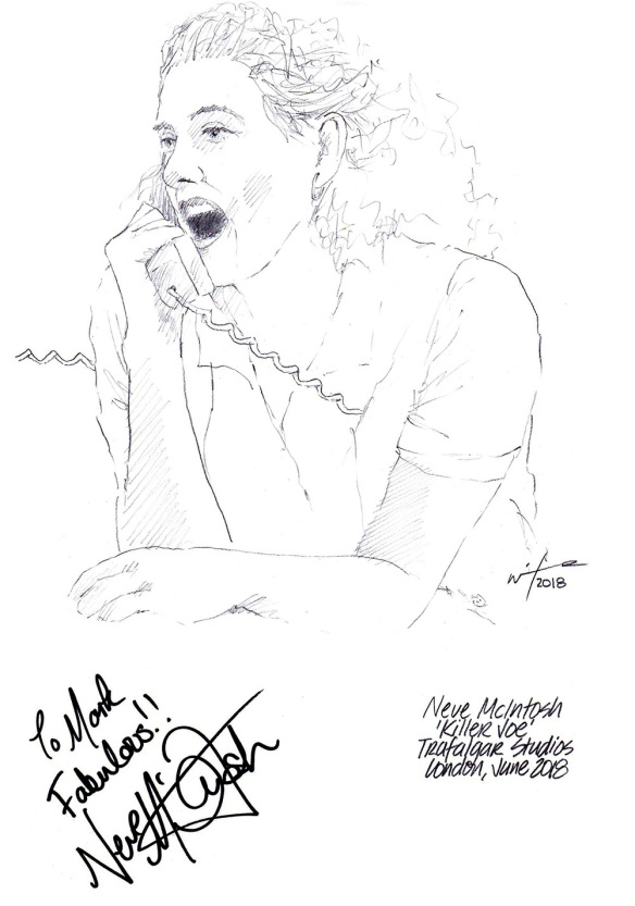 Autographed drawing of Neve McIntosh in Killer Joe at the Trafalgar Studios on London's West End