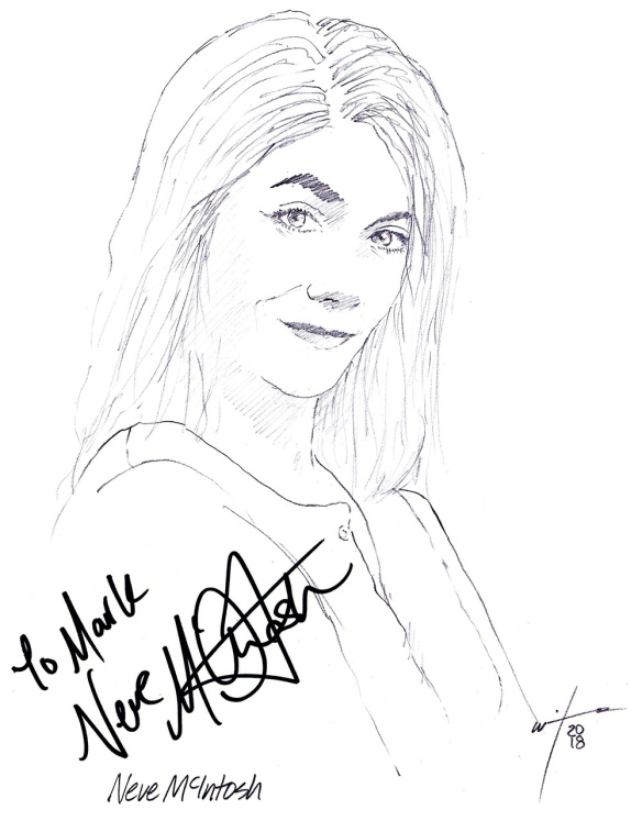 Autographed drawing of actress Neve McIntosh