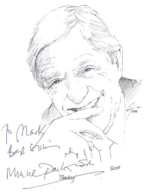 Autographed drawing of Sir Michael Parkinson