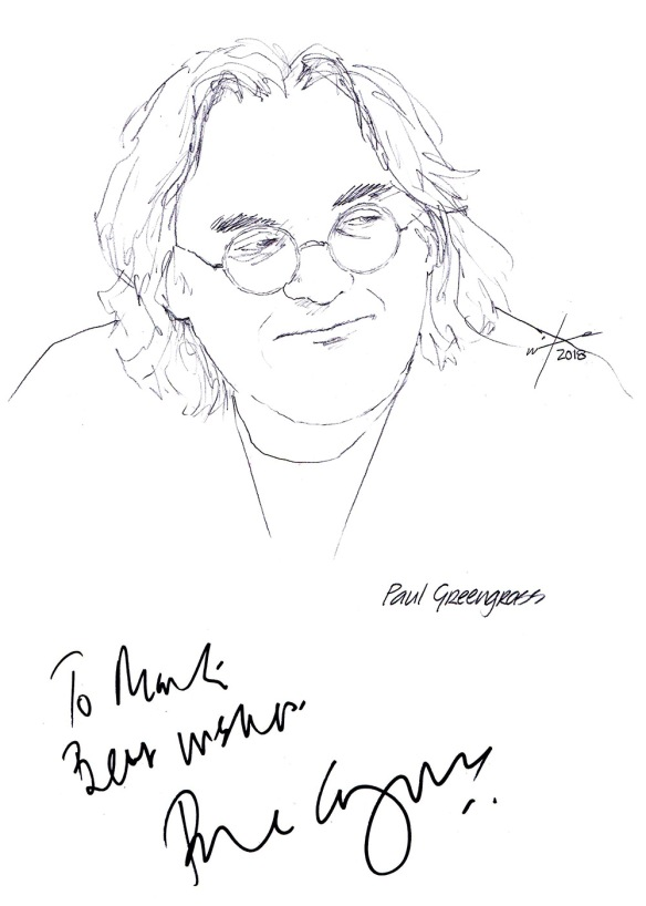 Autographed drawing of director Paul Greengrass