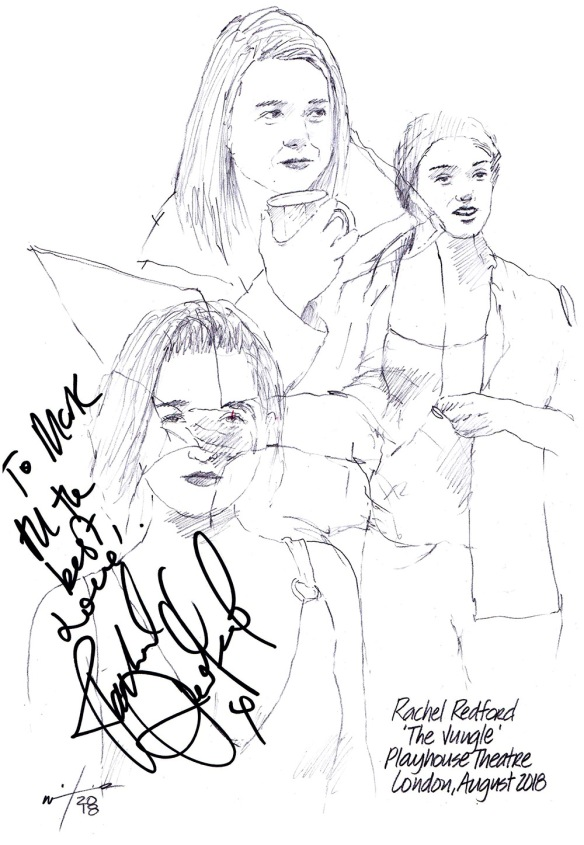 Autographed drawing of Rachel Redford in The Jungle at the Playhouse Theatre on London's West End