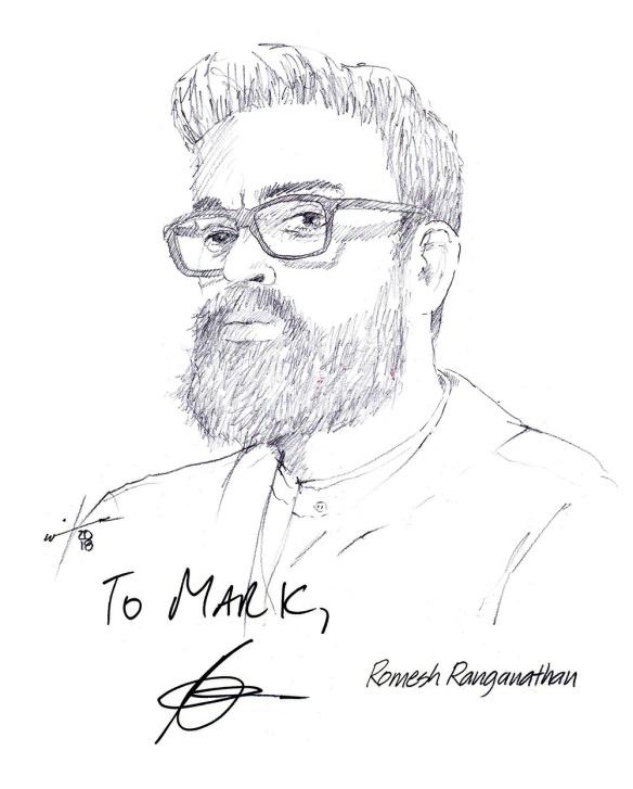 Autographed drawing of comedian Romesh Ranganathan