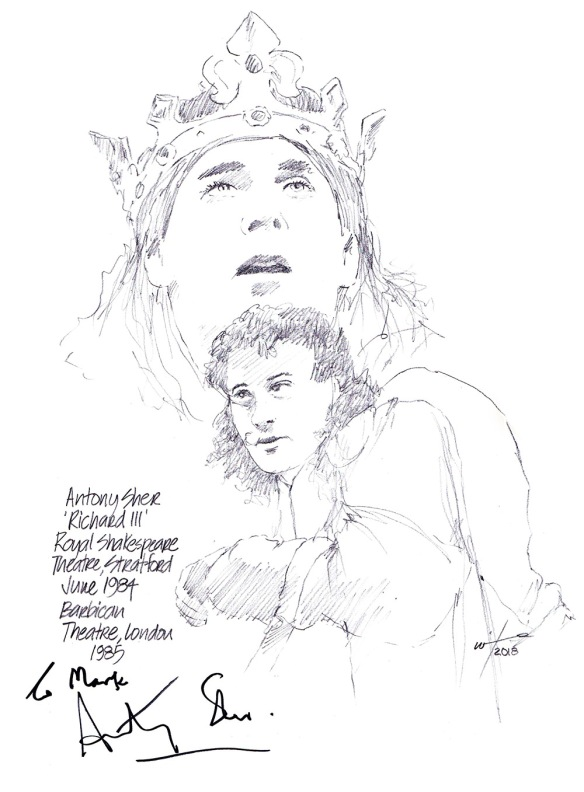 Autographed drawing of Antony Sher as Richard III at the Royal Shakespeare Theatre in Stratford and the Barbican in London