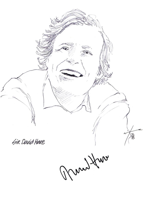 Autographed drawing of writer Sir David Hare