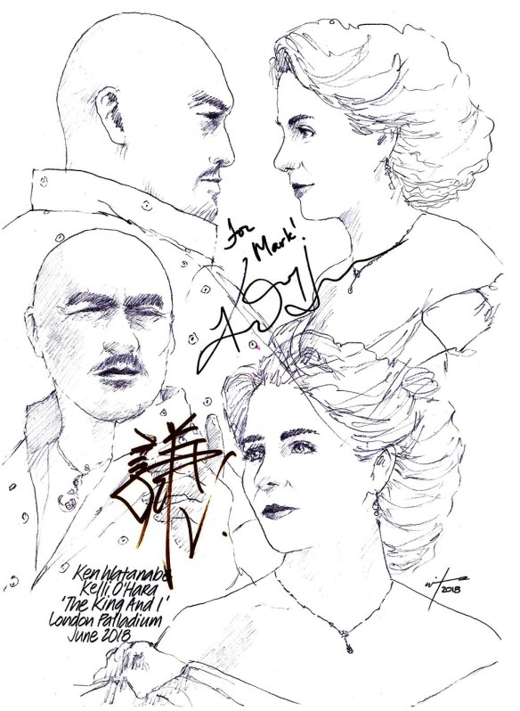 Autographed drawing of Ken Watanabe and Kelli O'Hara in The King and I at the London Palladium