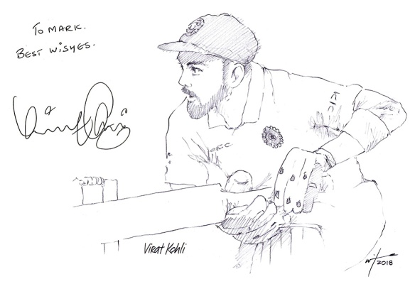 Autographed drawing of cricketer Virat Kohli