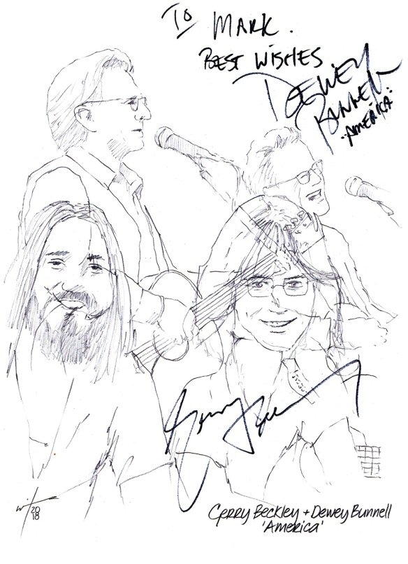Autographed drawing of musicians Gerry Beckley and Dewey Bunnell, 'America'