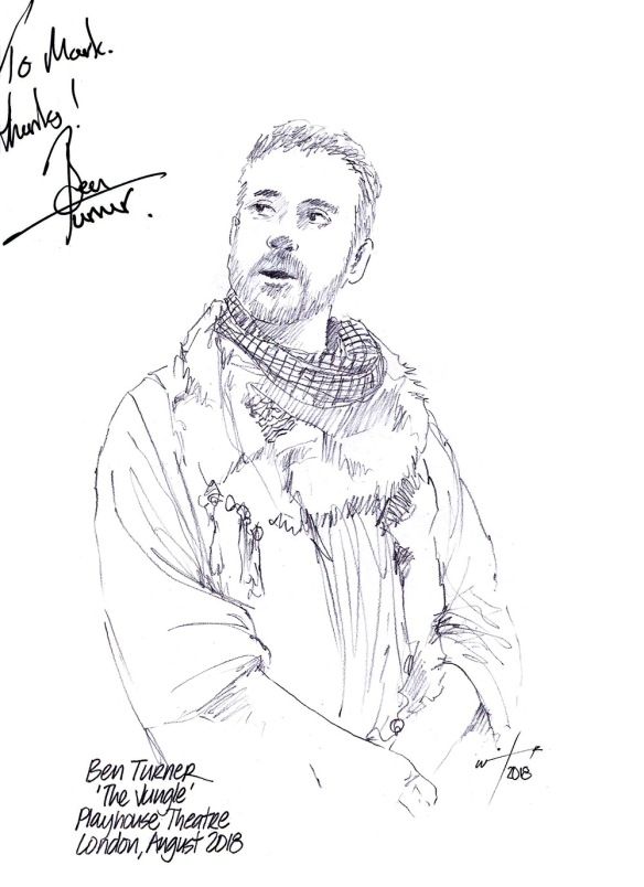 Autographed drawing of Ben Turner in The Jungle at the Playhouse Theatre on London's West End
