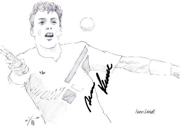 Autographed drawing of tennis player Ivan Lendl