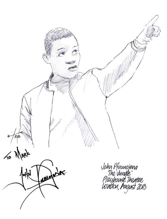 Autographed drawing of John Pfumojena in The Jungle at the Playhouse Theatre on London's West End