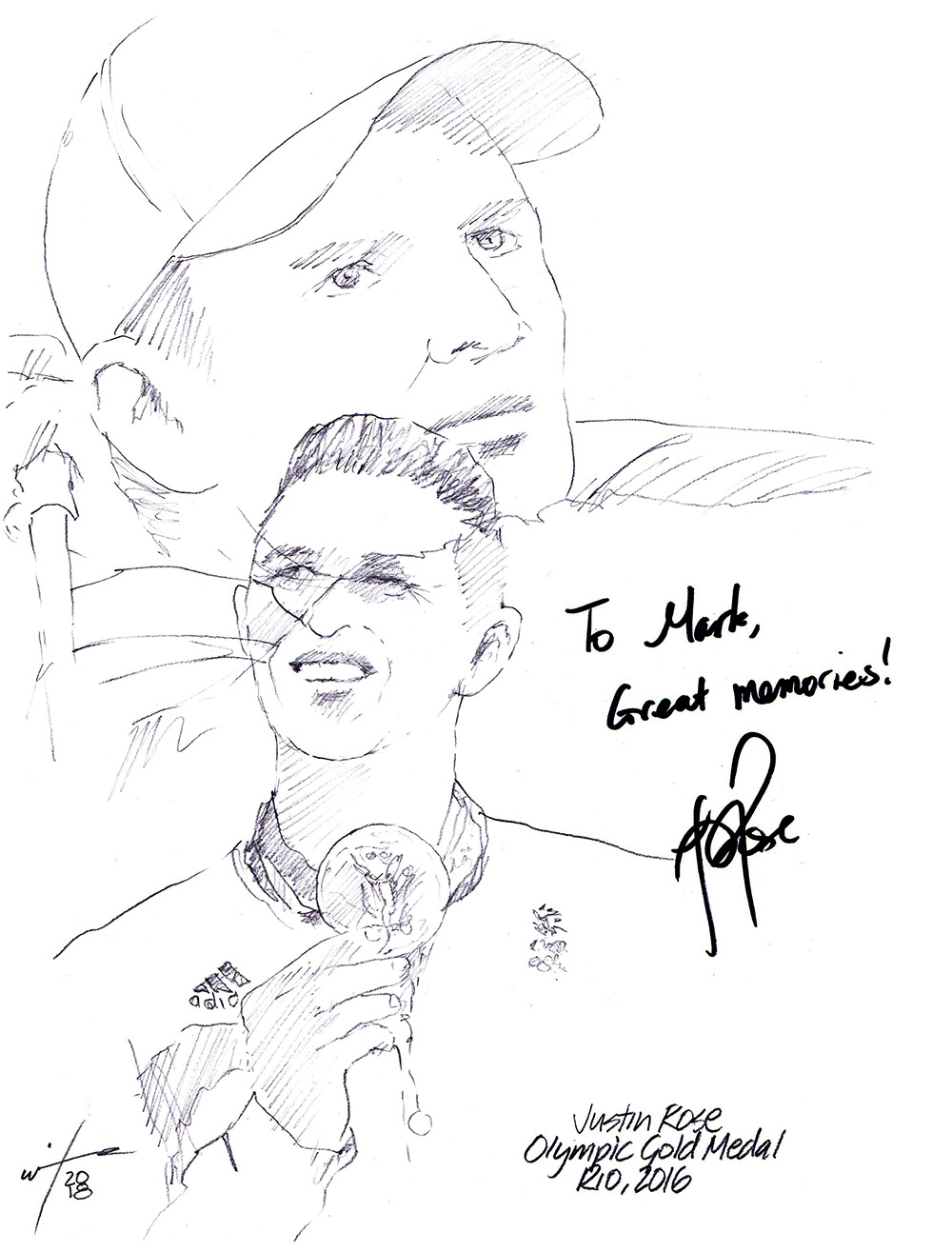 Autographed drawing of golfer Justin Rose