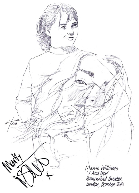 Autographed drawing of Maisie Williams in I and You at the Hampstead Theatre