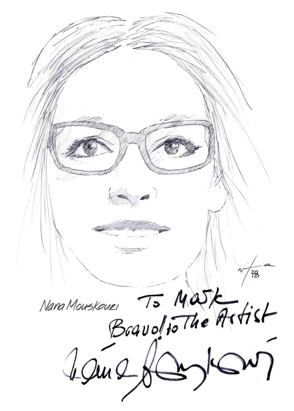 Autographed drawing of singer Nana Mouskouri