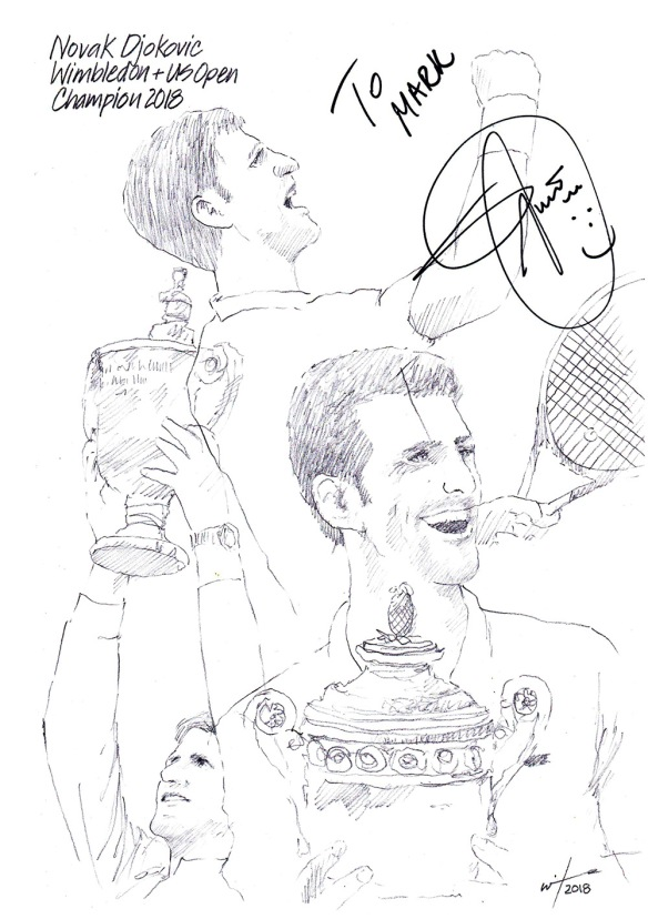 Autographed drawing of tennis player Novak Djokovic