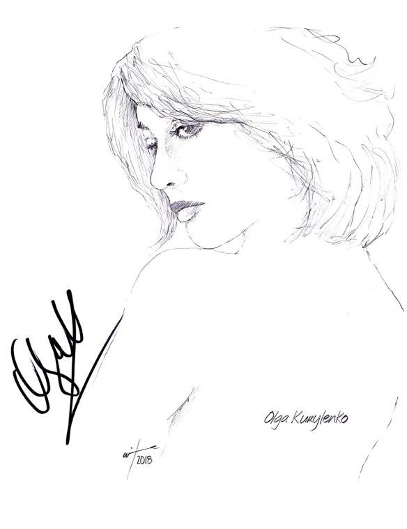 Autographed drawing of actress Olga Kurylenko