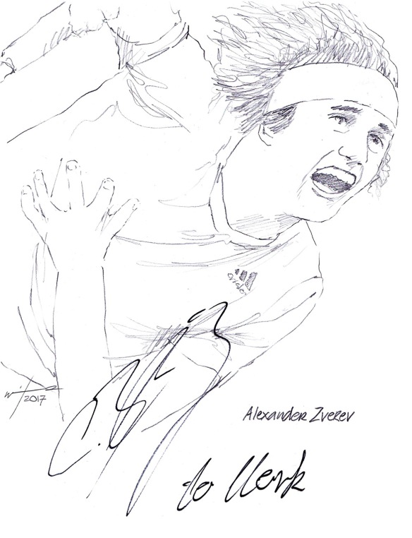 Autographed drawing of tennis player Alexander 'Sascha' Zverev