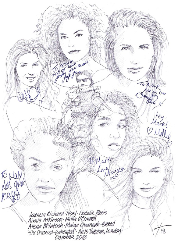 Autographed drawing of Aimee Atkinson, Alexia McIntosh, Millie O'Connell, Natalie Paris, Maiya Quansah-Breed and Jarneia Richard-Noel in Six the Musical on London's West End