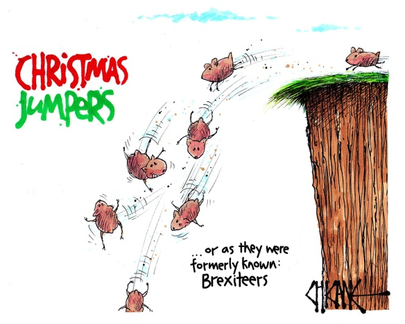 Christmas Jumpers, Brexiteer Lemmings jumping off a cliff