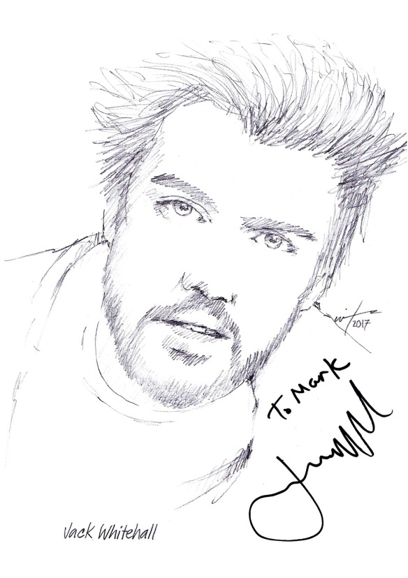 Autographed drawing of comedian Jack Whitehall