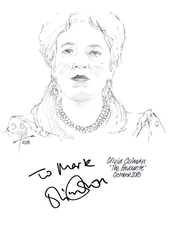 Autographed drawing of Olivia Colman as Queen Anne in The Favourite