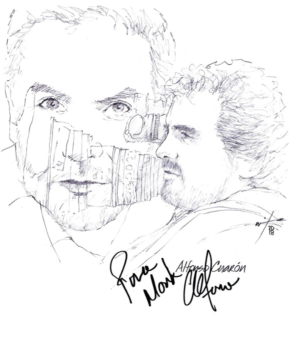 Autographed drawing of director Alfonso Cuarón