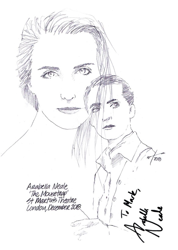 Autographed drawing of Arabella Neale in The Mousetrap at St Martin's Theatre on London's West End