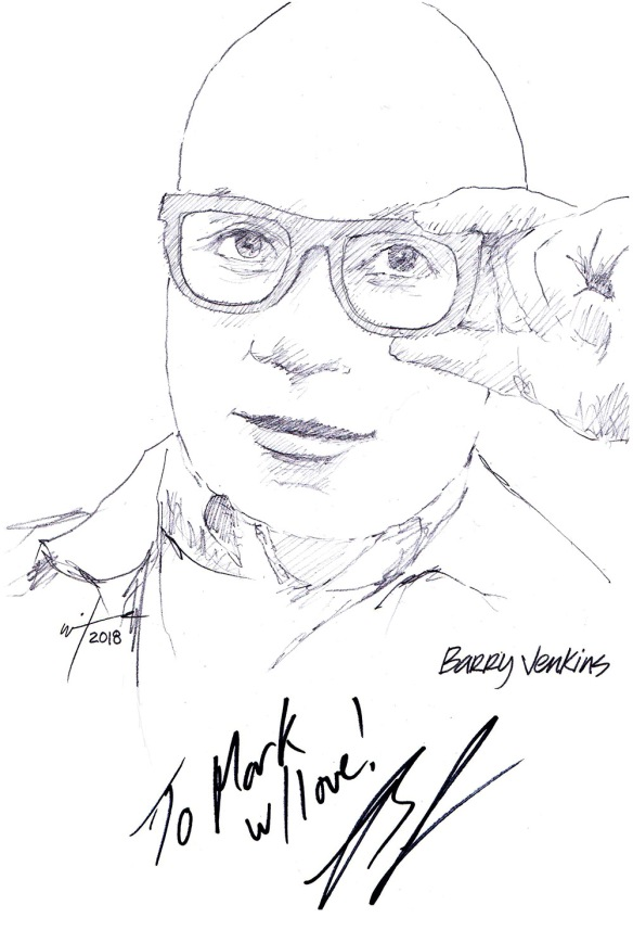 Autographed drawing of writer and director Barry Jenkins