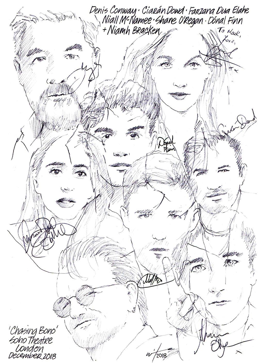 Autographed drawing of Denis Conway, Ciaran Dowd, Farzana Dua Elahe, Naill McNamee, Shane O'Regan, Donal Finn and Niamh Bracken in Chasing Bono at London's Soho Theatre