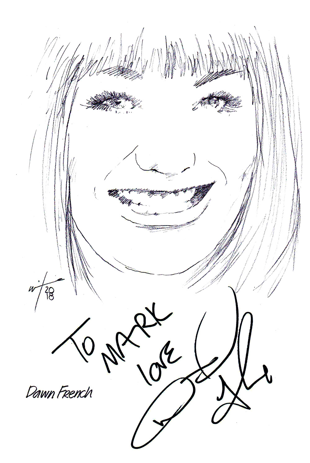 Autographed drawing of Dawn French