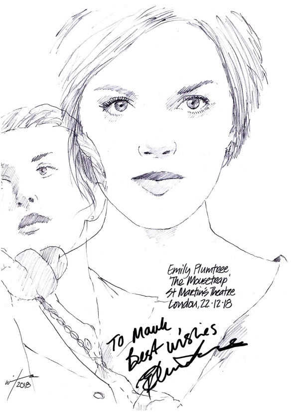 Autographed drawing of Emily Plumbtree in The Mousetrap at St Martin's Theatre on London's West End