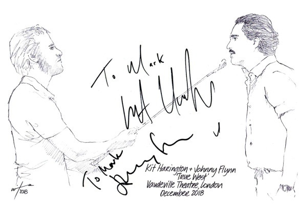 Auotographed drawing of Kit Harington and Johnny Flynn in True West at the Vaudeville Theatre on London's West End