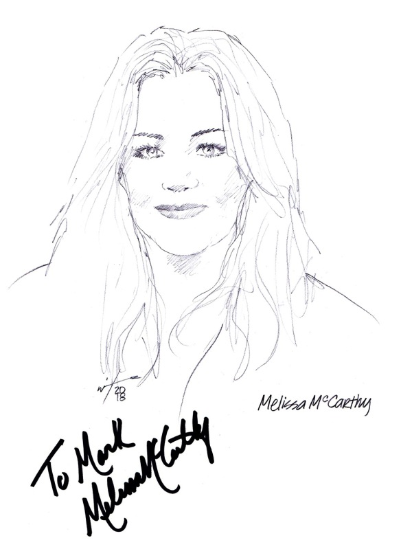 Autographed drawing of actress Melissa McCarthy