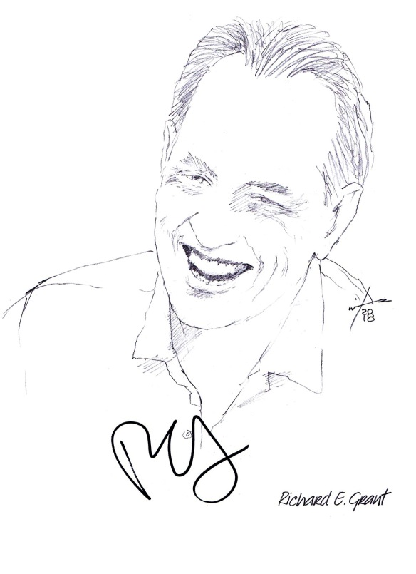 Autographed drawing of actor Richard E Grant
