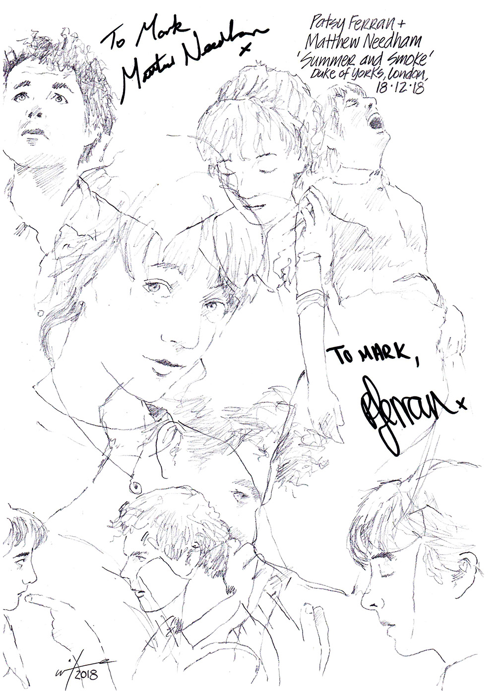 Autographed drawing of Patsy Ferran and Matthew Needham in Summer and Smoke at theDuke of York's Theatre on London's West End