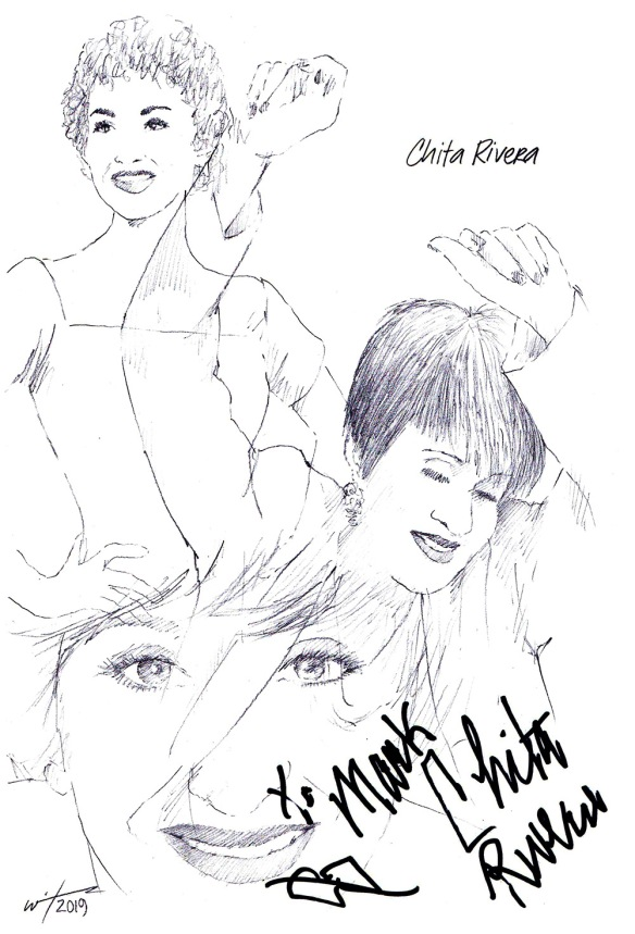 Autographed drawing of Chita Rivera