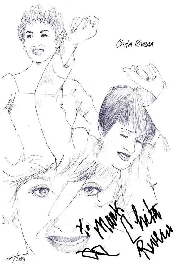 Autographed drawing of Chita Rivera